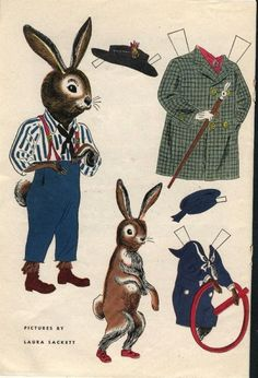 MR AND MRS LONG EARS RABBIT AND LITTLE SHORTY  by Laura Sackett  2 of 2