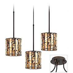 Speckled Glass Tiger Bronze 3-Light Pendant