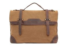 Image of Vintage Canvas Leather Briefcase Messenger Shoulder Bag Laptop Bag Tote Bag 1935