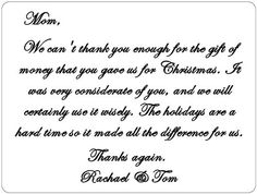 Wedding Monetary Gift Message : An example of how to write a thank you note for a gift of money More