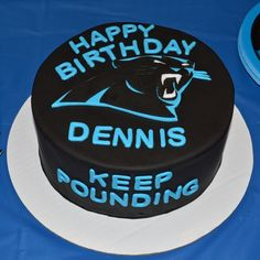 Carolina Panthers Birthday Cake  By www.freshbakedva.com Birthday Cake Roanoke VA, Custom Cake Roanoke, VA, Wedding Cake Roanoke VA, Salem VA Birthday Cake, Cake Salem Virginia, Roanoke Virginia Wedding Cake