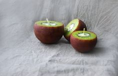 Kiwi Candles Handpainted Ball Candles Set Of 3 Home by LessCandles, $18.00