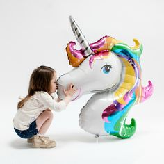 """Giant Rainbow Unicorn Balloon 33"""" from Pretty Little Party Shop - Stylish Party"""
