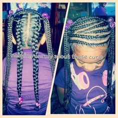 Natural curly hair braided.  Excellent for the winter months when the harsh cold can dry out hair!! Remember L.O.C method.