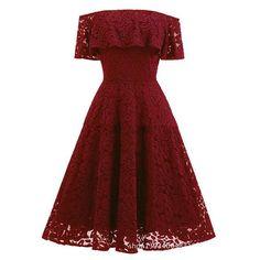 Women's Elegant Lace Off-Shoulder Knee-Length Dress S-2XL 5 Colors – Floessence