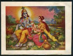 India vintage Hindu God Radha & Krishna stationery 8 picclick.com
