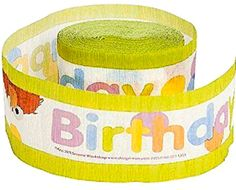 "[Single Pack] Crepe Paper Streamer Roll ""Sesame Street Elmo + Friends Spotted Birthday Design"" for Decoration and Craft Supply with 30' Ft / 9.1 M Length {Purple, Blue, Yellow, and Red)"