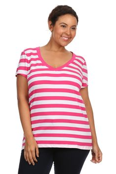 60931393858 Womens Plus Size Comfortable Cotton Jersey V Neck Striped Short Sleeve Tee  Shirt