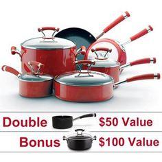 Pretty - fun - red - and such a deal! Circulon Contempo Red - 10-Piece Set with Double Bonus #05163 - PotsandPans.com