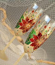 Poinsettia Glasses, Christmas Glasses, Winter Wedding, Champagne Glasses, Hand Painted Set of 2 – Folt Bolt Shop Wine Glass Holder, Glass Candle Holders, Bottle Painting, Bottle Art, Crystal Wine Glasses, Champagne Glasses, Wedding Glasses, Wine Candles, Glass Painting Designs