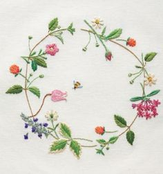 meadow flower wreath embroidery