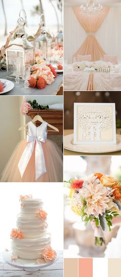 2017 neutral wedding colors in white and peach