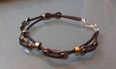 Mens Bike Chain link and spacer Double Corded Bracelet on Etsy, $14.99