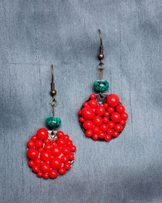 Handmade Polymer Clay Orange Beads with Turquoise Bead by JenniferAnnFineArt, $24.00