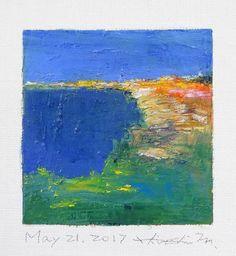 21 maggio 2017 - pittura a olio astratta originale - 9 x 9 pittura (9 x 9 cm - app. 4 x 4 pollici) con stuoia di 8 x 10 pollici