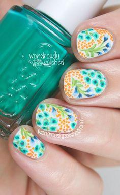 Watercolor-esque wildflower nail art