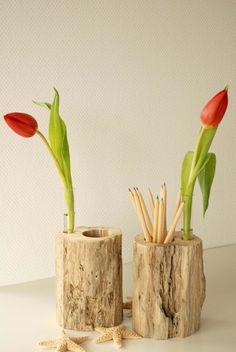 Treibholz-Stifteköcher mit Vase