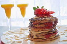 Strawberry Cream Cheese Pancake Stack - Plaid & Paleo