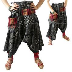 Harem-Drop-Crotch-Patterned-Trousers-Pants-Gypsy-Hippie-Aladdin-Hmong-Men-Women