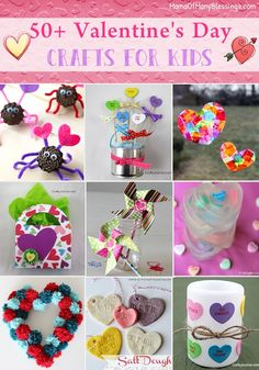 Over 50 different awesome, quick, and easy kids craft ideas for Valentine's Day. There is something for everyone on this list and many of them would make great valentine's day gift ideas or be great for school Valentine's card exchanges.