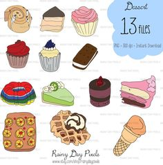 Desserts Hand Drawn Clipart by RainyDayPixels on Etsy