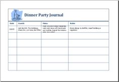 Dinner party journal DOWNLOAD at http://www.doxhub.org/party-templates/