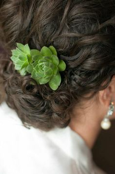 #Succulent accent in this bride's #chignon I Amore Events by Cody, LLC I #hairstyle