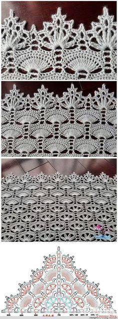 "Вязание крючком для души ""Beautiful crochet shawl with a delicate edging."", ""crochet runner with corner edging"", ""Pattern crocheted, of Filet Crochet, Shawl Crochet, Art Au Crochet, Beau Crochet, Mode Crochet, Crochet Lace Edging, Crochet Motifs, Crochet Diagram, Thread Crochet"