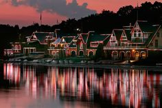 The houses lit up at Boathouse Row on the Schuylkill River. Located on Kelly Drive...if you can't pronounce the name of that river just ask for directions to Boat House Row...we all know where it is.
