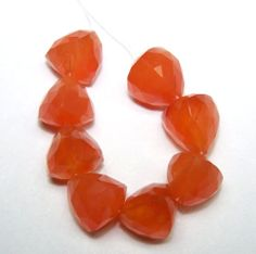 30 Ct Natural Brazil Cornelian Faceted Pyramid 8.5-9.5 MM Loose 8 Drop Layout