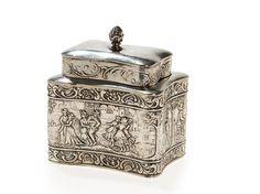 Silber Teedose mit Figuren & Rankendekor, Deutschland, um 1910