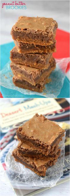 Amazing Peanut Butter Brookies (half brownie, half cookie) from Crazy for Crust's new book, Dessert Mash-Ups!