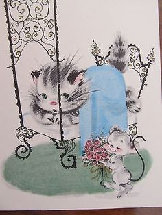 CUTE Vintage Greeting Card Get Well Kitty Cat In Bed w/ Mouse