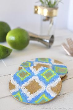 Easy DIY Ikat Cork Coaster submitted to InspirationDIY.com