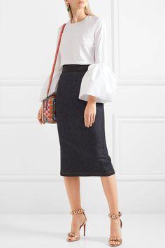 Dolce & Gabbana | Fluted stretch-denim pencil skirt | NET-A-PORTER.COM