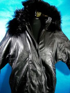 Leather jacket Black Hip Hop Urban Fox Fur Lined Hood XL Removable Lining Mens  #SeventhAvenue #StadiumHipHop