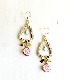 20 Mint Wedding Ideas: #9 - Mint + Pink Earrings (by Roses and Lemons) #handmade #wedding #jewelry #mint