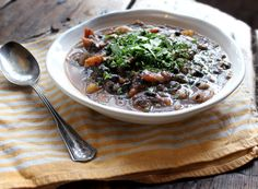 Rustic black bean and sweet potato soup.