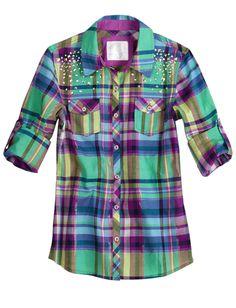 Embellished Plaid Shirt | Long Sleeve | Tops & Tees | Shop Justice