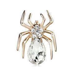 Brošňa na šatky v tvare exkluzívneho pavúka, ktorého tvoria žiarivé kamienky. Táto brošňa  je malé šperkárske majstrovské dielo, pokladané za krásny doplnok pre ženu. Vďaka symbolike v sebe ukrytej dodáva svojej nositeľke pocit elegancie. Brošňa je ideálny doplnok pre ozdobenie vášho outfitu. Brošňu môžete použiť aj na svoje oblečenie, ktoré vďaka nej získa úplne iný nádych. Skúste byť originálna a ozdobte sa.