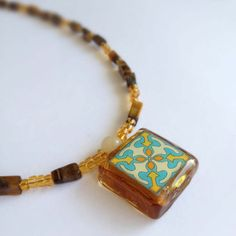 Spanish Tile with Glass and Tiger-Eye Stone Necklace - Designed and Hand Made by Me in the USA