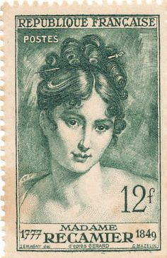 Vintage French postage stamp depicting Madame Recamier, a well-known Parisian socialite of the to centuries Rare Stamps, Vintage Stamps, Vintage Labels, Vintage Ephemera, Vintage Paper, Vintage Clocks, Art Postal, Images Vintage, French Vintage