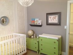 Refinished Campaign Dressers for the Nursery Painted Green - love the look! #nursery #campaigndresser
