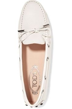 Tod's - Gommino Textured-leather Loafers - White - IT