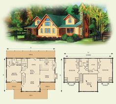 waters edge log home and log cabin floor plan.  Don't inclose the Study room upstairs and you have a loft area!