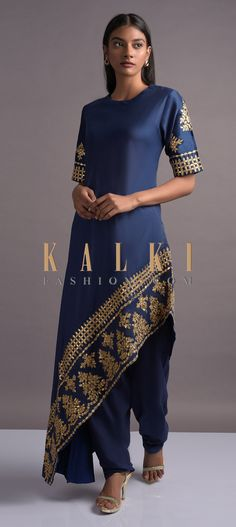 Buy Online from the link below. We ship worldwide (Free Shipping over US$100)  Click Anywhere to Tag Navy-Blue-Dhoti-Suit-With-Asymmetric-High-Low-Hemline-And-Gotta-Work-Online-Kalki
