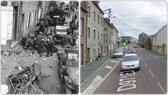 Convoglio americano fermato in città in primo piano dei detriti metallici e macerie. Diversi infermieri soccorrono un soldato americano ferito, la sua Jeep ha colpito una mina tedesca sepolta, avenue du Maréchal Pétain, vicino all'incrocio di de la Croix-Quillard  26Luglio1944Coutances  Bassa Normandia #NORMANDIA1944