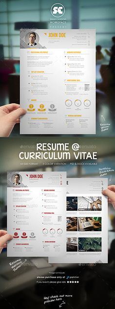 Modern #Resume CV - Resumes #Stationery Download here: https://graphicriver.net/item/modern-resume-cv/10191124?ref=alena994