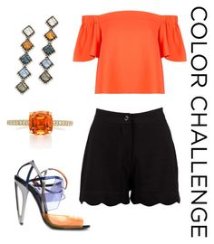 """Black and Orange"" by jade9999 ❤ liked on Polyvore featuring Topshop, Fendi, Boohoo, DANNIJO, orangeandblack and colorchallenge"