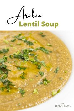 Arabic Lentil Soup is made with hearty vegetables and brown lentils simmered with warm spices like cinnamon and cumin. Lentil Recipes, Healthy Soup Recipes, Easy Dinner Recipes, Dinner Ideas, Slow Cooker Soup, Slow Cooker Chicken, Protein Substitutes For Meat, Lebanese Lentil Soup